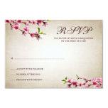 "Pink Cherry Blossoms Vintage Tan Response Card 3.5"" X 5"" Invitation Card"