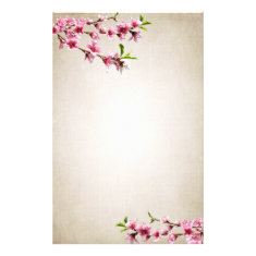Pink Cherry Blossoms Vintage Tan Customized Stationery