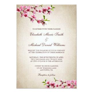 Pink Cherry Blossoms Vintage Tan Wedding 5x7 Paper Invitation Card