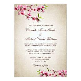 Pink Cherry Blossoms Vintage Tan Wedding Card ...