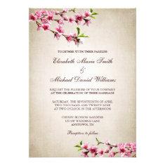 Pink Cherry Blossoms Vintage Tan Wedding Custom Announcement