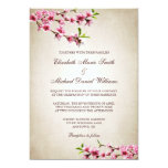 Pink Cherry Blossoms Vintage Tan Wedding Custom Announcement