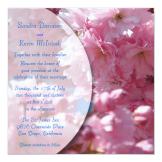 Pink Cherry Blossoms Wedding Invitations