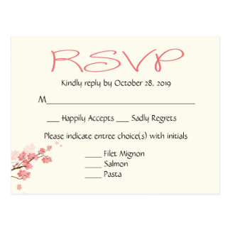 Pink Cherry Blossoms Wedding Party RSVP Post Card