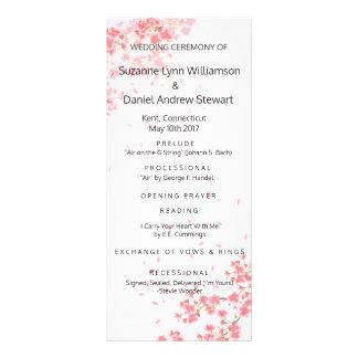 Pink Cherry Blossoms Wedding Program
