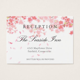 Pink Cherry Blossoms Wedding Reception Card