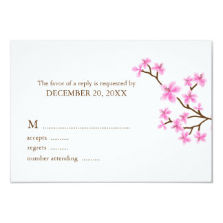 Pink Cherry Blossoms Wedding Response Cards Custom Announcements