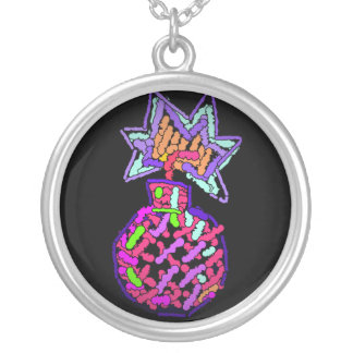 Pink Cherry Bomb Cross Stitch Pendant