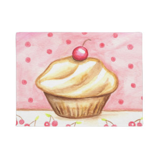 Pink Cherry Cupcake Bakery Kitchen Rug Doormat