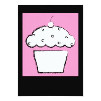 pink cherry cupcake 5x7 paper invitation card