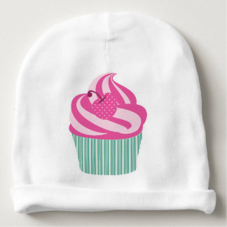 Pink Cherry Cupcake with Green Stripes Baby Beanie
