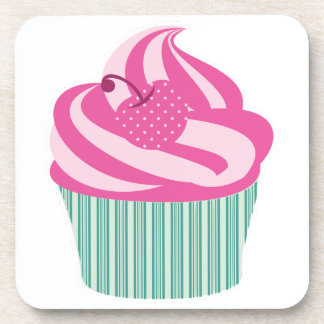 Pink Cherry Cupcake with Green Stripes Beverage Coaster