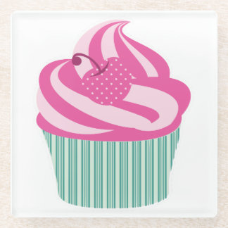 Pink Cherry Cupcake with Green Stripes Glass Coaster