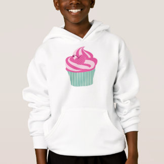 Pink Cherry Cupcake with Green Stripes Hoodie
