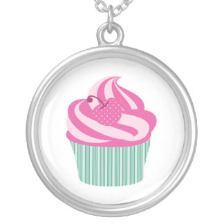Pink Cherry Cupcake with Green Stripes Silver Plated Necklace