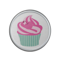 Pink Cherry Cupcake with Green Stripes Speaker
