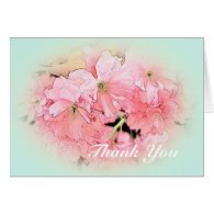 pink cherry flowers in light blue thank you greeting card