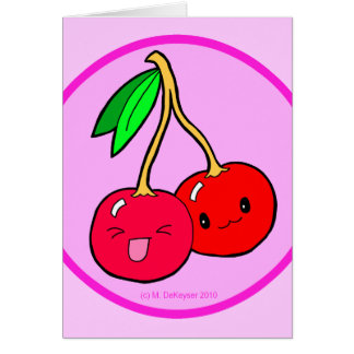 Pink Cherry Friends Design Greeting Card