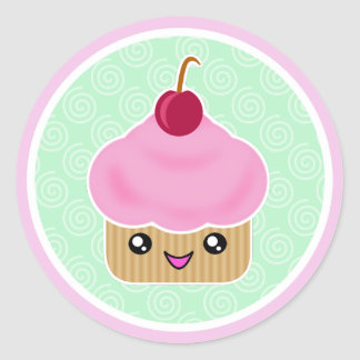 Pink Cherry Kawaii Cupcake Stickers