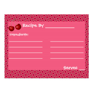 Pink Cherry Mod Recipe Cards Template