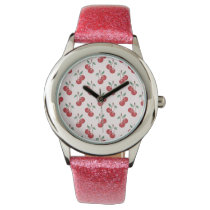 Pink Cherry Pattern Wristwatch