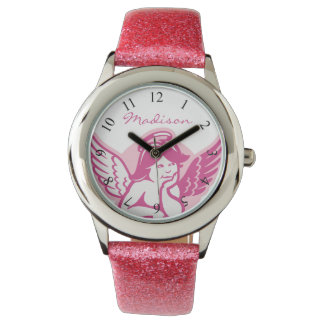 Pink Cherub Girls Personalized Glitter Watch