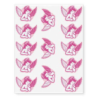 Pink Cherub Temporary Tattoos