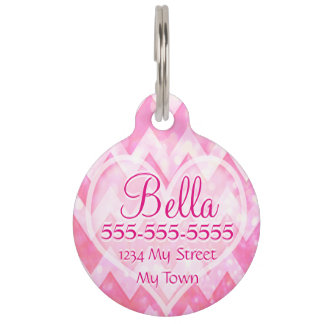 Pink Chevorn Glitter Heart Pet ID Tag