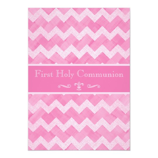 pink chevron 1st holy communion double sided print invitation