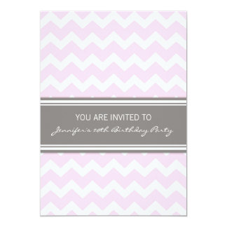 Pink Chevron 20th Birthday Party Invitations