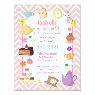 Pink Chevron Alice in Wonderland Tea Party 4.25x5.5 Paper Invitation Card