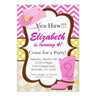 Pink Chevron and Cowgirl Boot Birthday Party 5x7 Paper Invitation Card
