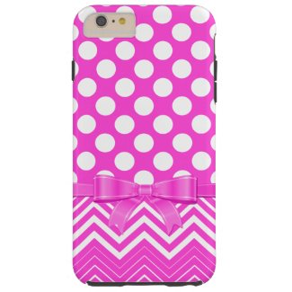 Pink Chevron And Polka Dot On A Pink Background Tough iPhone 6 Plus Case