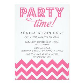 Pink Chevron and Polka dots Birthday Party Invite
