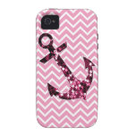 Pink Chevron and Sparkly Stars Anchor iPhone 4 Case