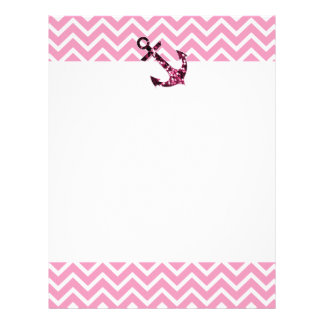 Pink Chevron and Sparkly Stars Anchor Letterhead