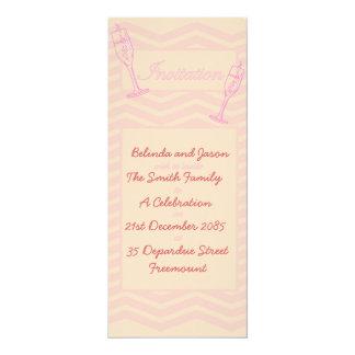Pink Chevron and wine glasses Celebration Invite