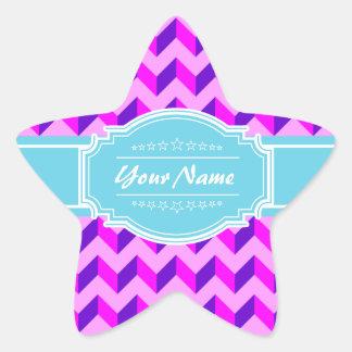 Pink Chevron Aqua Personalized Name Star Sticker