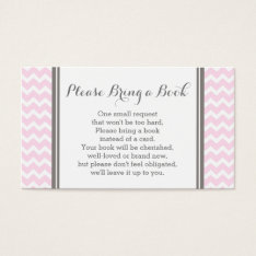 Pink Chevron Baby Shower Book Request Card at Zazzle