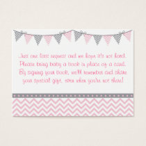 Pink Chevron Baby Shower Book Request Cards