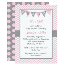 Pink Chevron Baby Shower Card