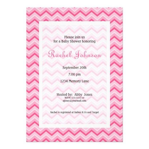 pink chevron baby shower invitation zazzle