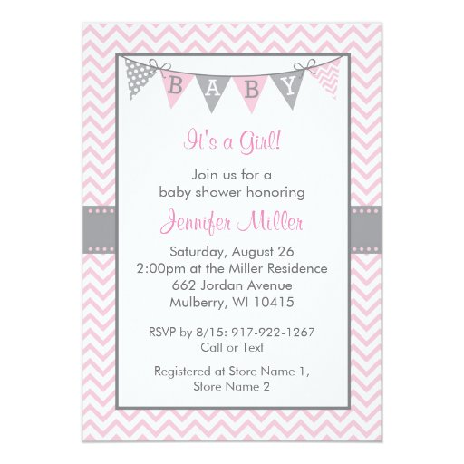 Pink Chevron Baby Shower Invitations