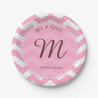 Marvelous Pink Chevron Baby Shower Plates With Babyu0026#39 ...