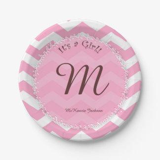 Pink Chevron Baby Shower Plates With Babyu0026#39 ...