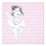 Pink Chevron Ballerina Princess Baby Shower Invite