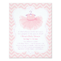 Pink Chevron Ballerina Tutu Girl Baby Shower Card