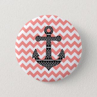 Pink Chevron Black Tribal Pattern Anchor Button