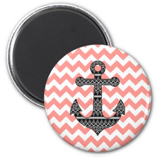 Pink Chevron Black Tribal Pattern Anchor Magnet