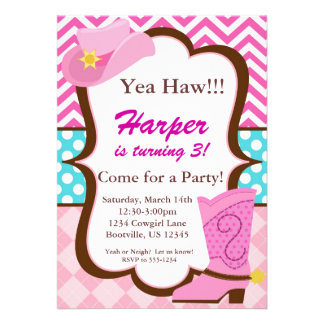 Pink Chevron Blue Dots Cowgirl Boot Birthday Personalized Invite